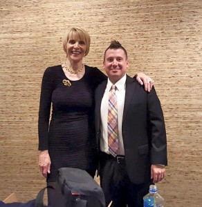 Marti MacGibbon, founder, producer and emcee, with headliner Dave Landau
