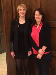 Marti MacGibbon with event planner Jill Hill of Youth Shelter Services, at ISU.
