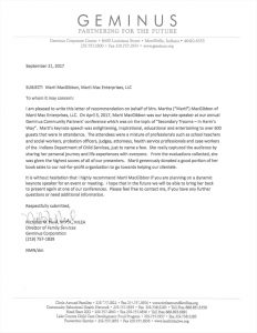 Geminus Letter of Recommendation
