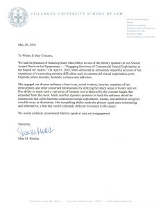 Villanova Letter of Recommendation