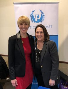Human trfficking survivor speaker Marti Macgibbon and Justice At Last founder Rose Mukhar